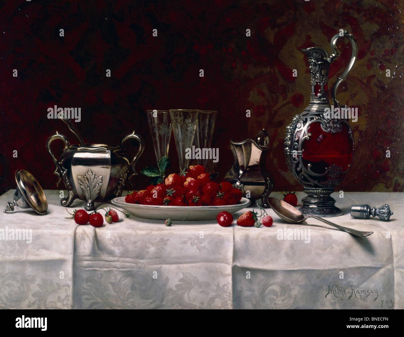 Nature morte aux fruits rouges et l'argent de la table par Milne Ramsey, 1889, (1847-1915) Photo Stock