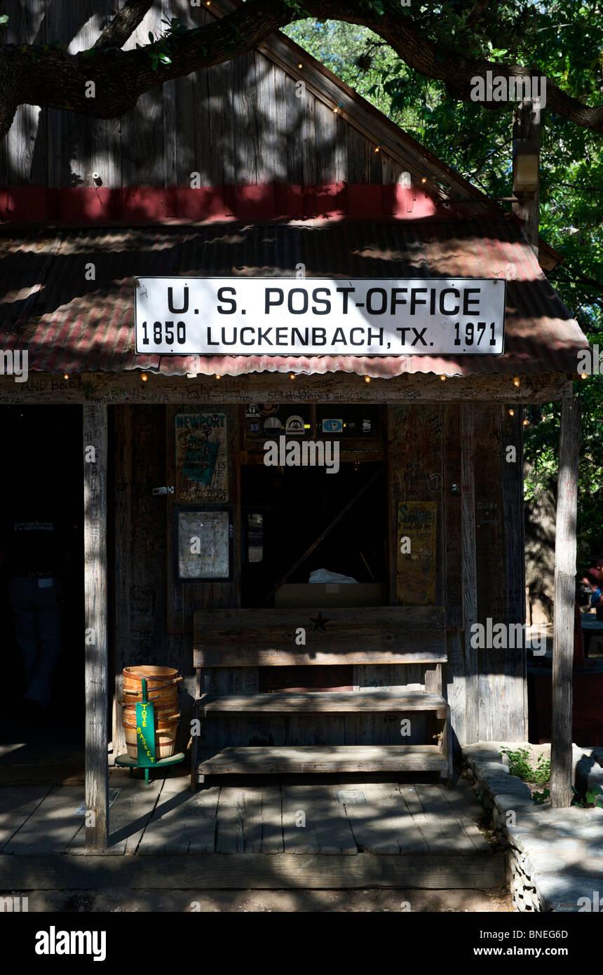 Luckenbach poste historique- bureau, hill country, Texas, États-Unis Banque D'Images