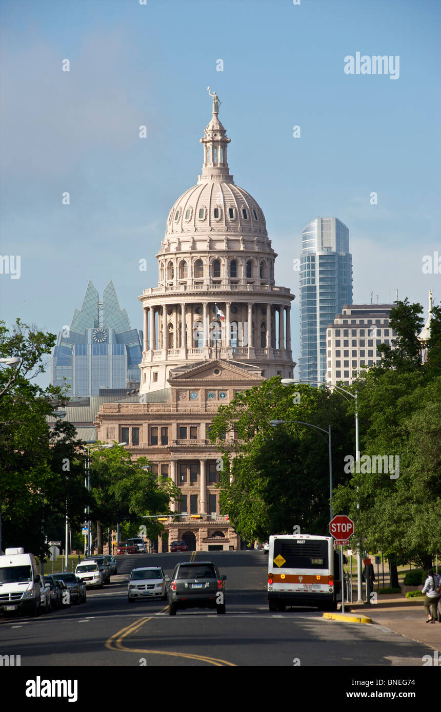 Vue sur Cityscape Capitol Building à Austin, Texas, États-Unis Banque D'Images
