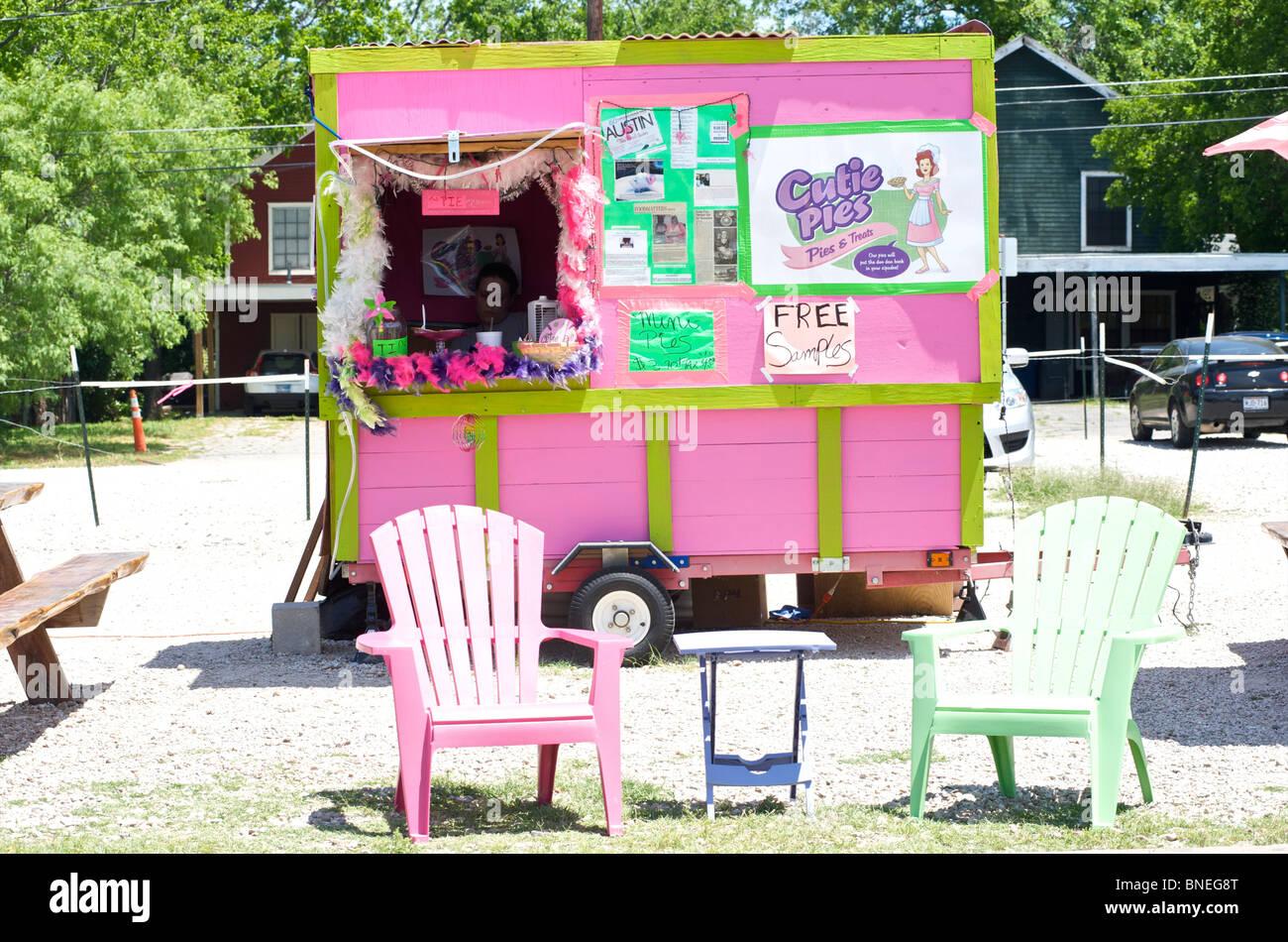 La vente de tartes un petit trailer Austin, Texas, États-Unis Banque D'Images