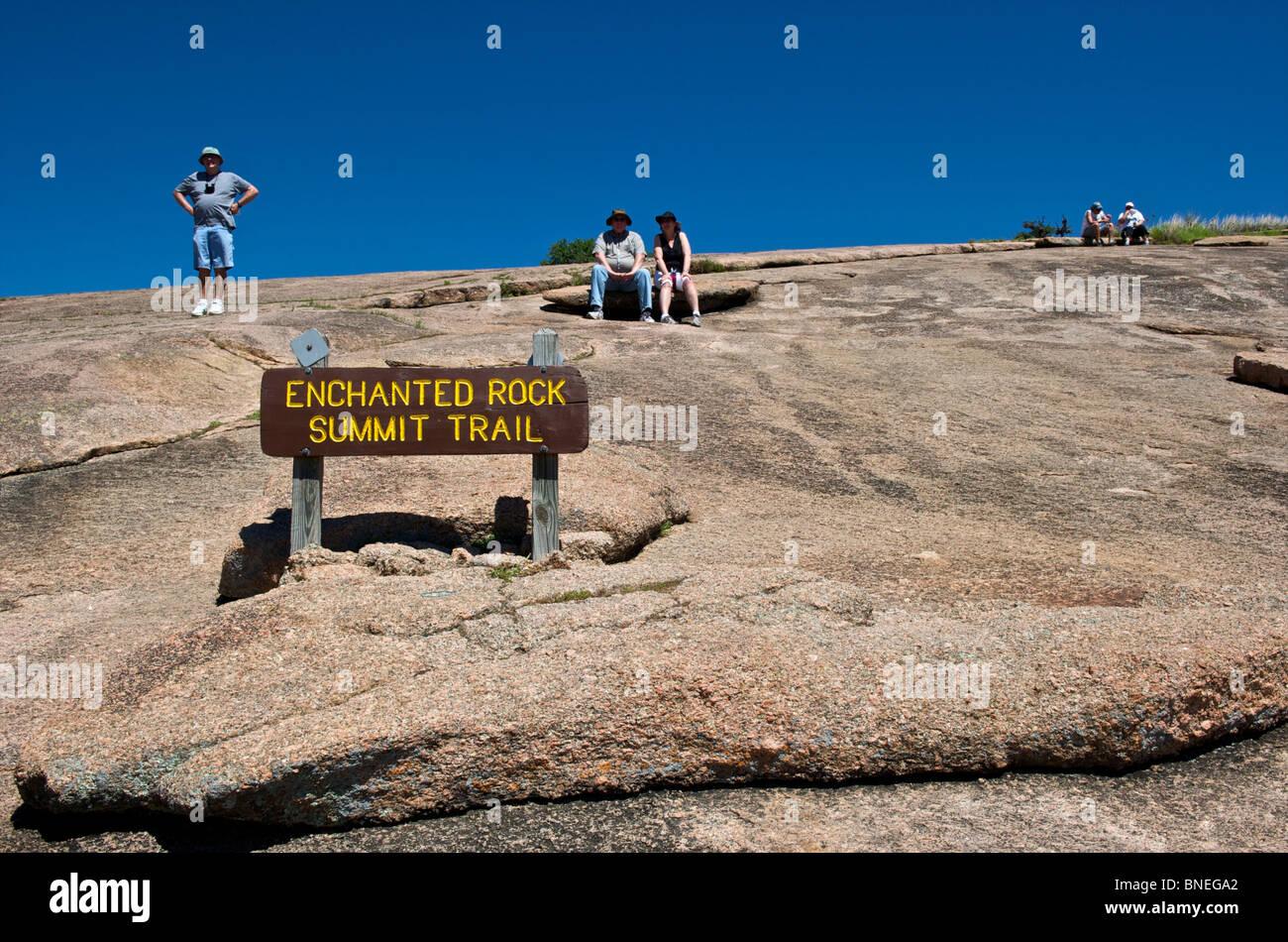 Enchanted rock signe Sentier du sommet, Texas, États-Unis Banque D'Images