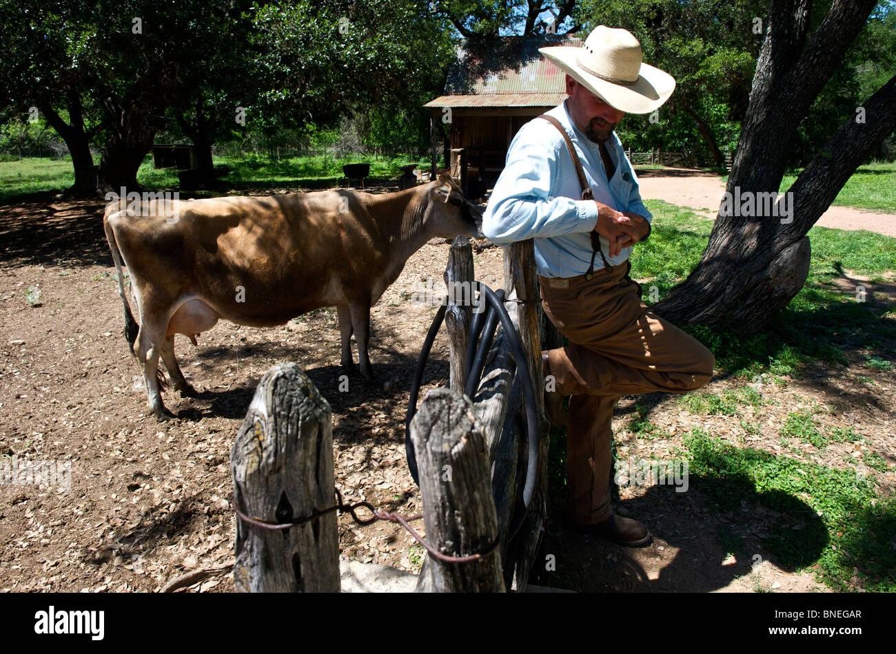 Agriculteur au ranch à Sauer Becker ferme de la LBJ Historic Park dans le Texas, USA Banque D'Images