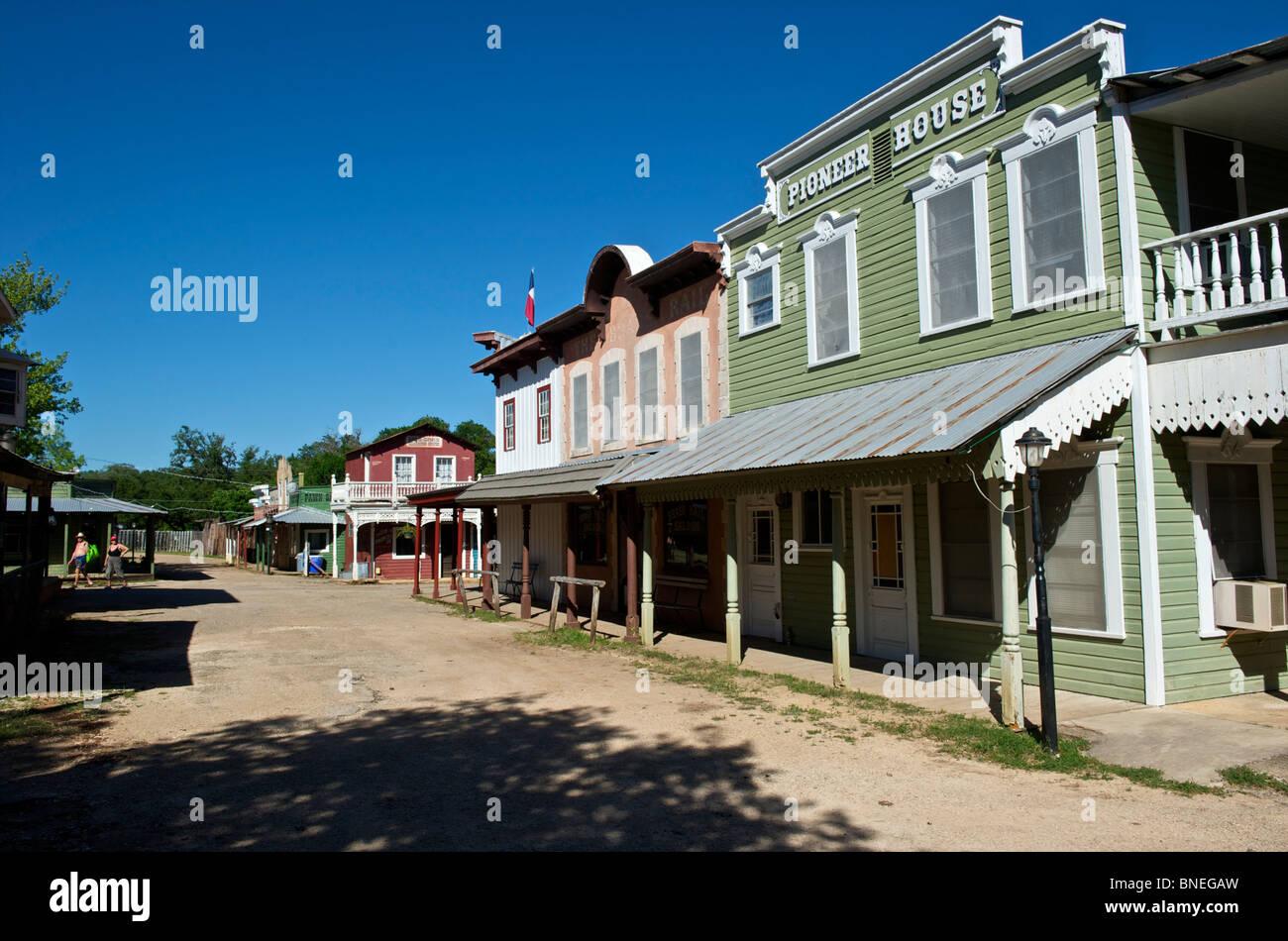 Vieille ville de l'Ouest sauvage de l'ouest ville pionnière, Texas, États-Unis Banque D'Images