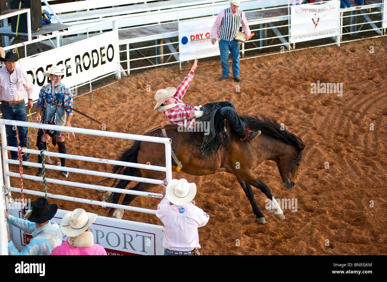 L'essayant de jeter Rodeo Cowboy membre de l'érythroblastopénie à partir de son retour à Petite-ville Bridgeport Texas, États-Unis Banque D'Images