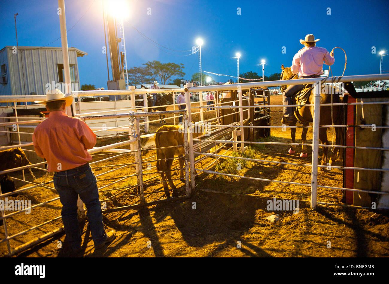 Cowboys dans une petite ville de PRCA Rodeo Bridgeport, Texas, États-Unis Banque D'Images