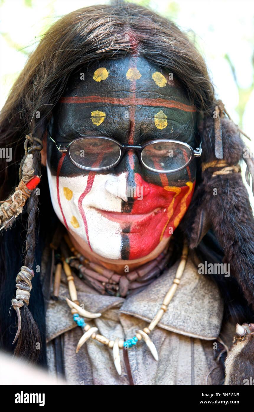 Portrait d'un Amérindien avec des lunettes dans le Texas, USA Banque D'Images