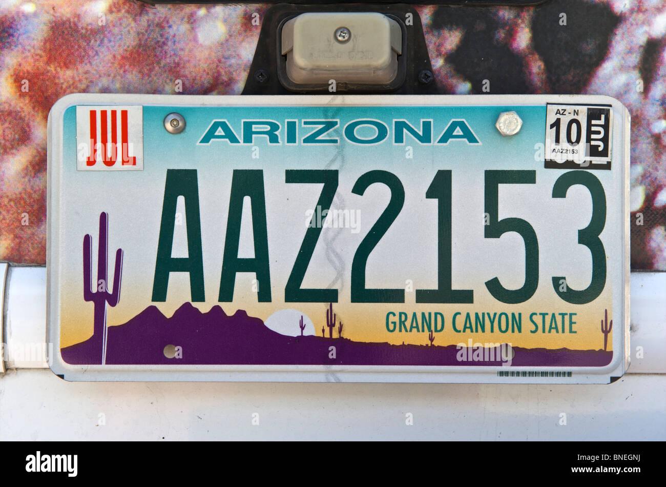 Immatriculation de l'Etat du Grand Canyon en Arizona, Texas, États-Unis Banque D'Images