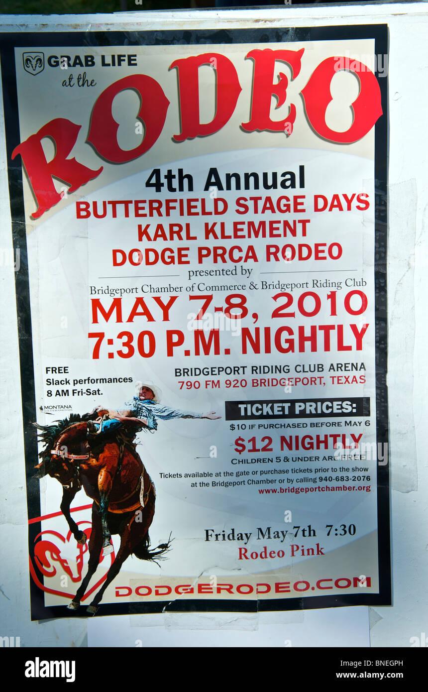 PRCA Rodeo poster, une petite ville de Bridgeport, Connecticut, USA Banque D'Images