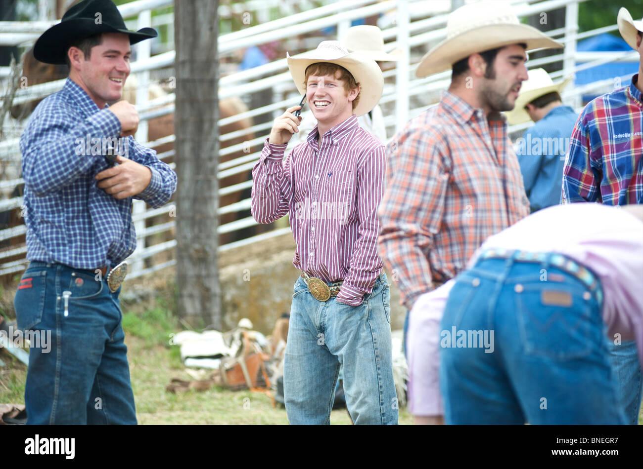 Les membres de l'érythroblastopénie Rodeo Cowboy cas de Bridgeport, Connecticut, USA Banque D'Images
