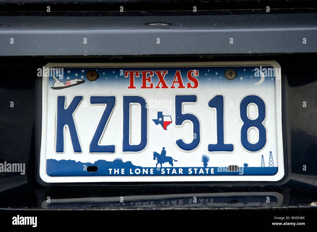 Nouveau Texas Lone Star State license plate dans le Texas, USA Banque D'Images