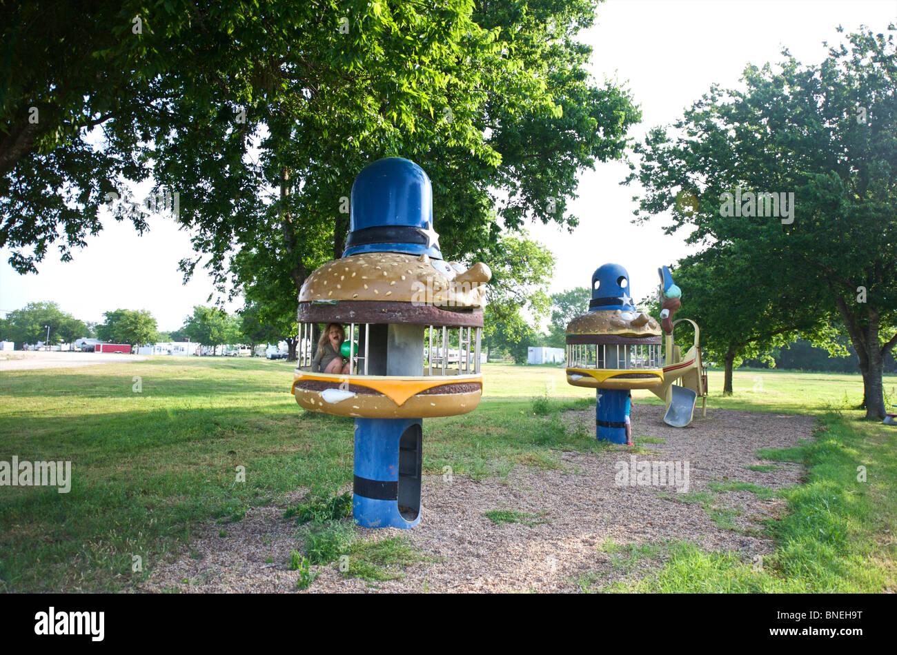 Aire de camping ressemblant à fast food restaurant au Texas, l'Amérique, USA Banque D'Images