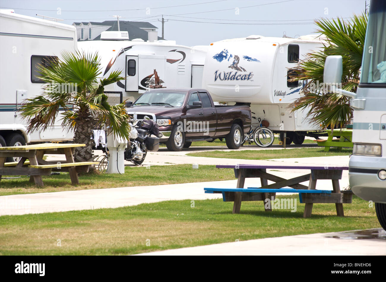 Camping Camping-car de camping Camping-RV pour le camping de Galveston Texas, États-Unis Banque D'Images