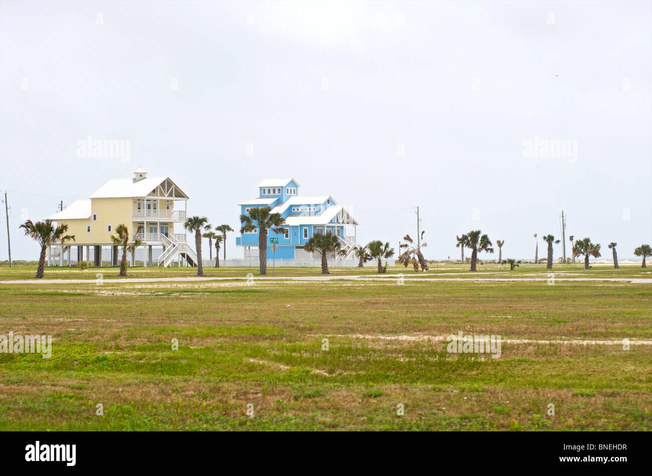 L'architecture typique de maisons en Galveston, Texas, États-Unis Banque D'Images