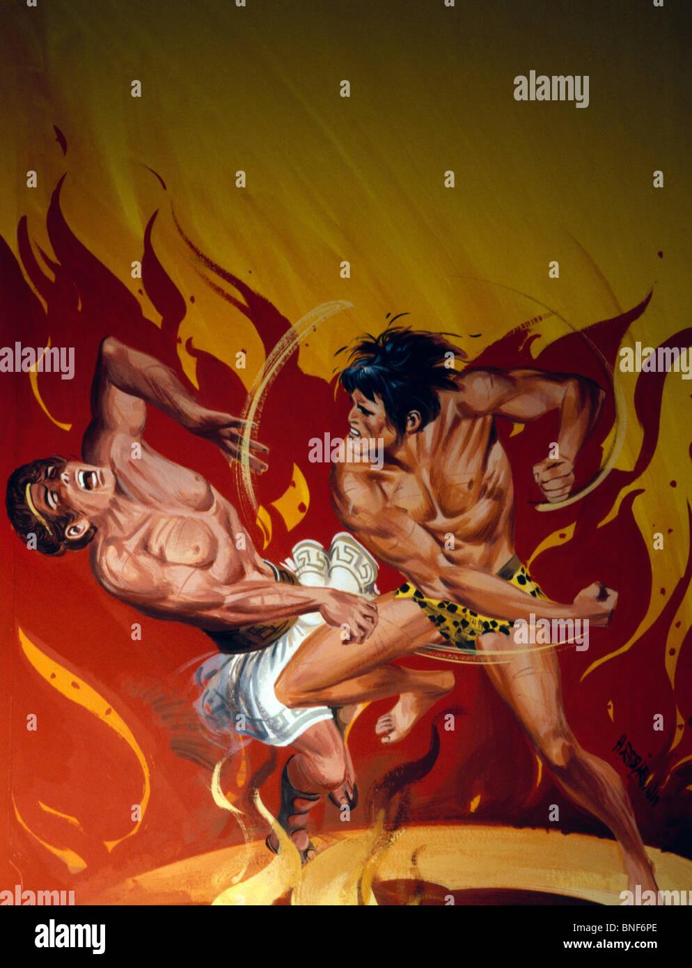 Les combats avec Tarzan homme musclé en face des équipements Banque D'Images