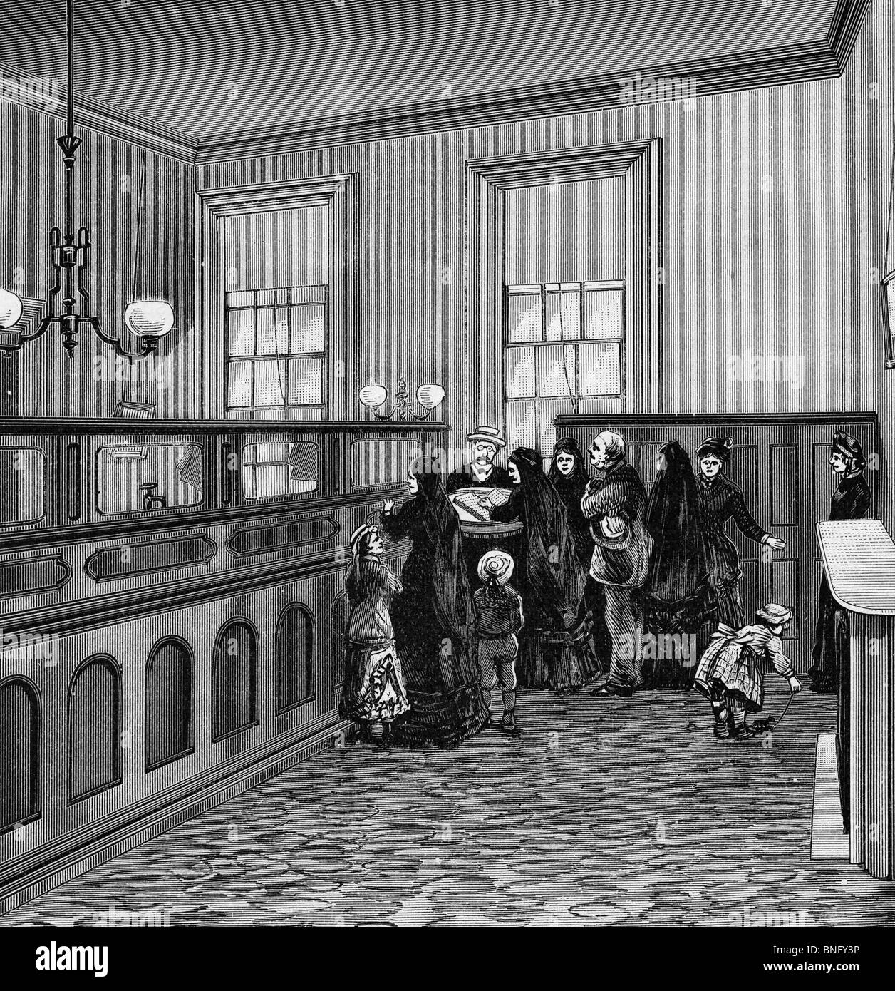 Bookeeper Gott's Office, de: nos protecteurs de la police, de l'histoire de la Police de New York, publiée en 1885 Banque D'Images