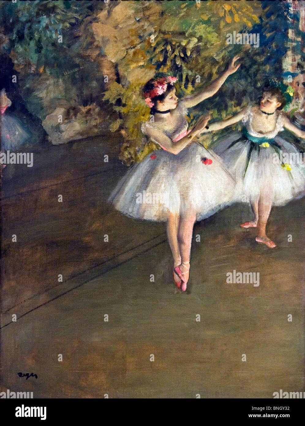Deux danseurs sur scène, par Edgar Degas, 1874, Angleterre, Londres, Courtauld Institute et galeries, 1834-1917 Banque D'Images