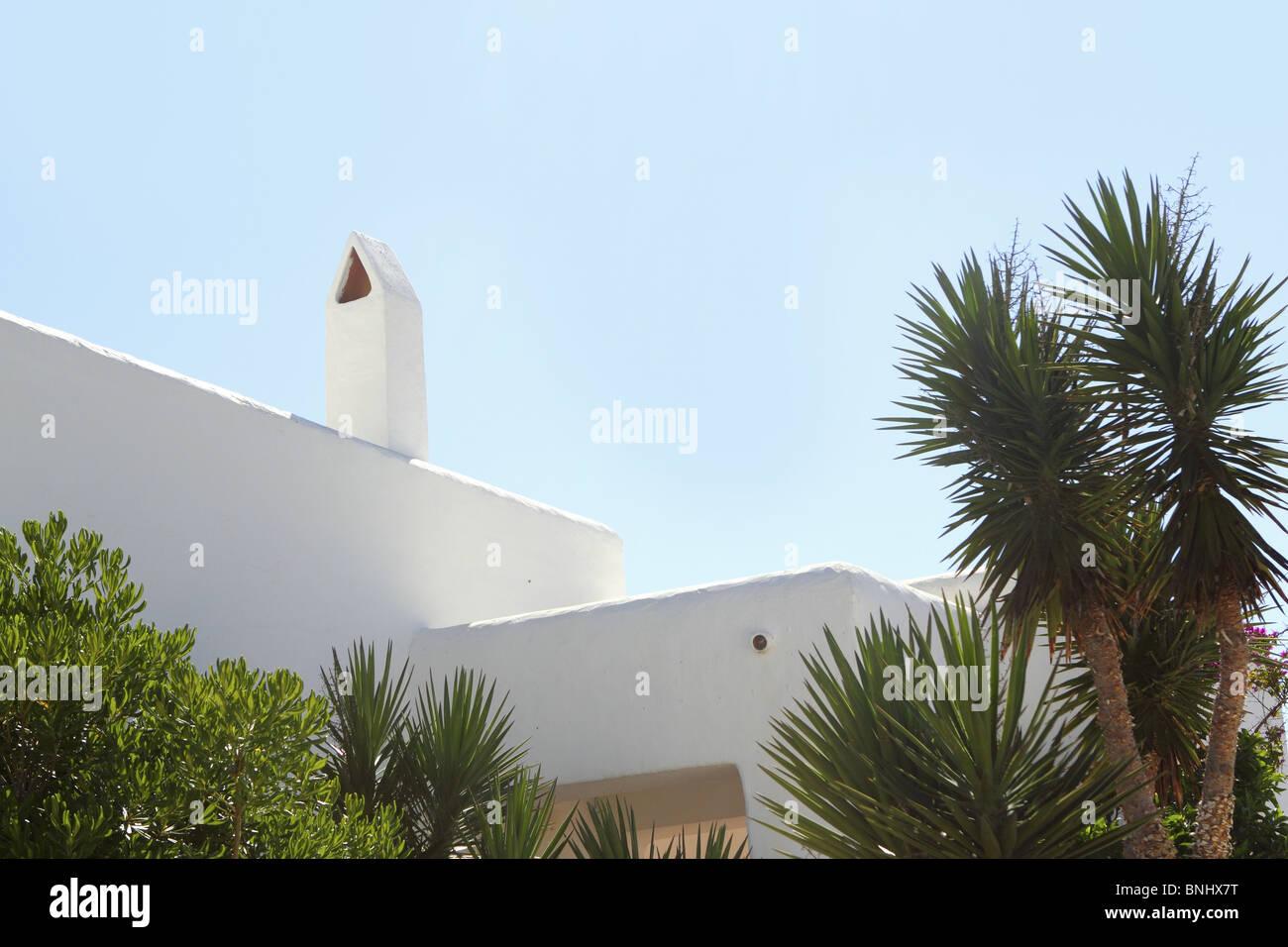 Maison méditerranéenne blanc détail dans Formentera Iles Baléares Photo Stock