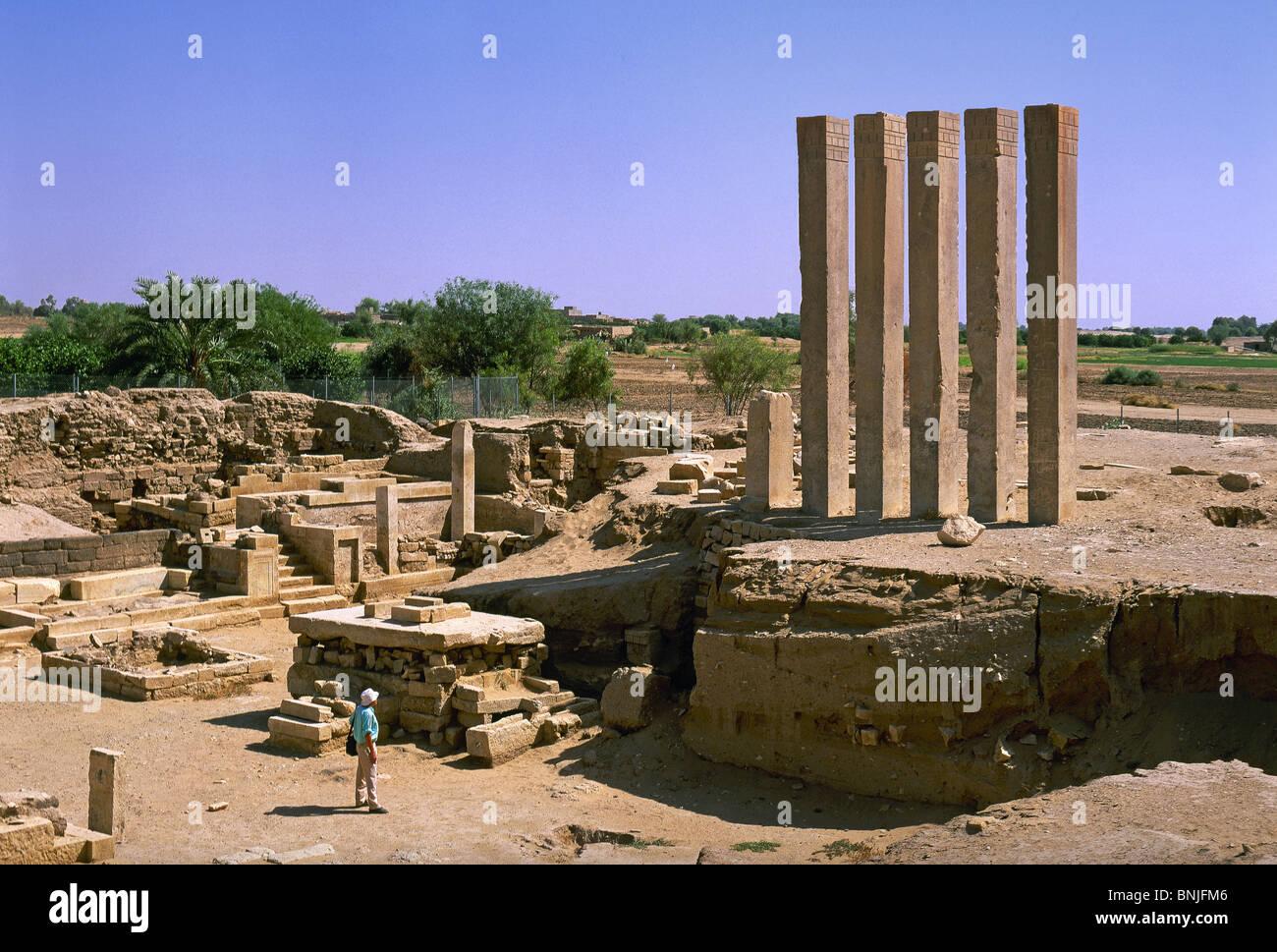 Yémen Février 2005 Ma'rib city Bar'une ruine antique temple ruins culture historique Photo Stock
