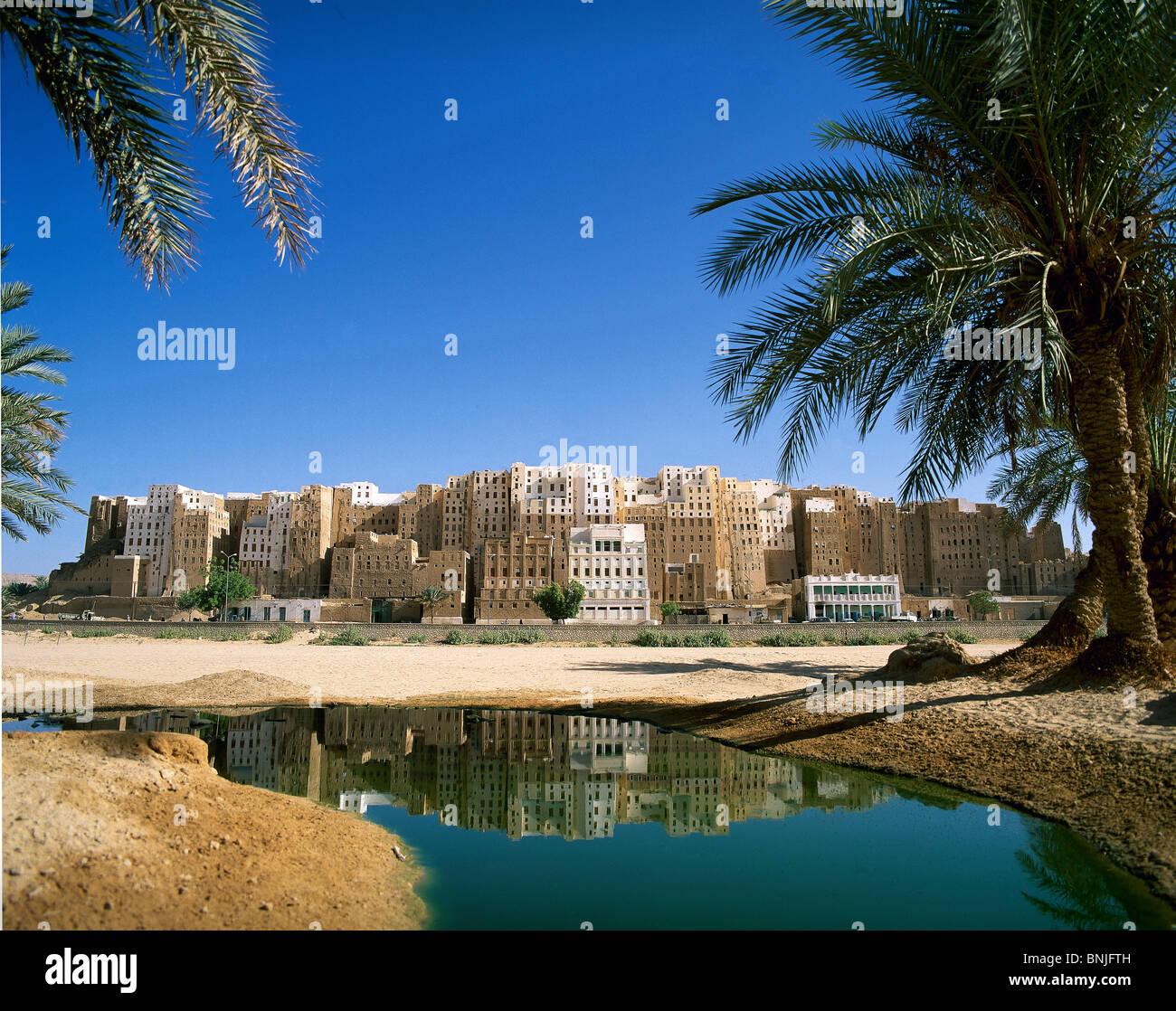 Février 2005 La vallée d'Hadramaout au Yémen Shibam ville site du patrimoine mondial de l'eau Photo Stock