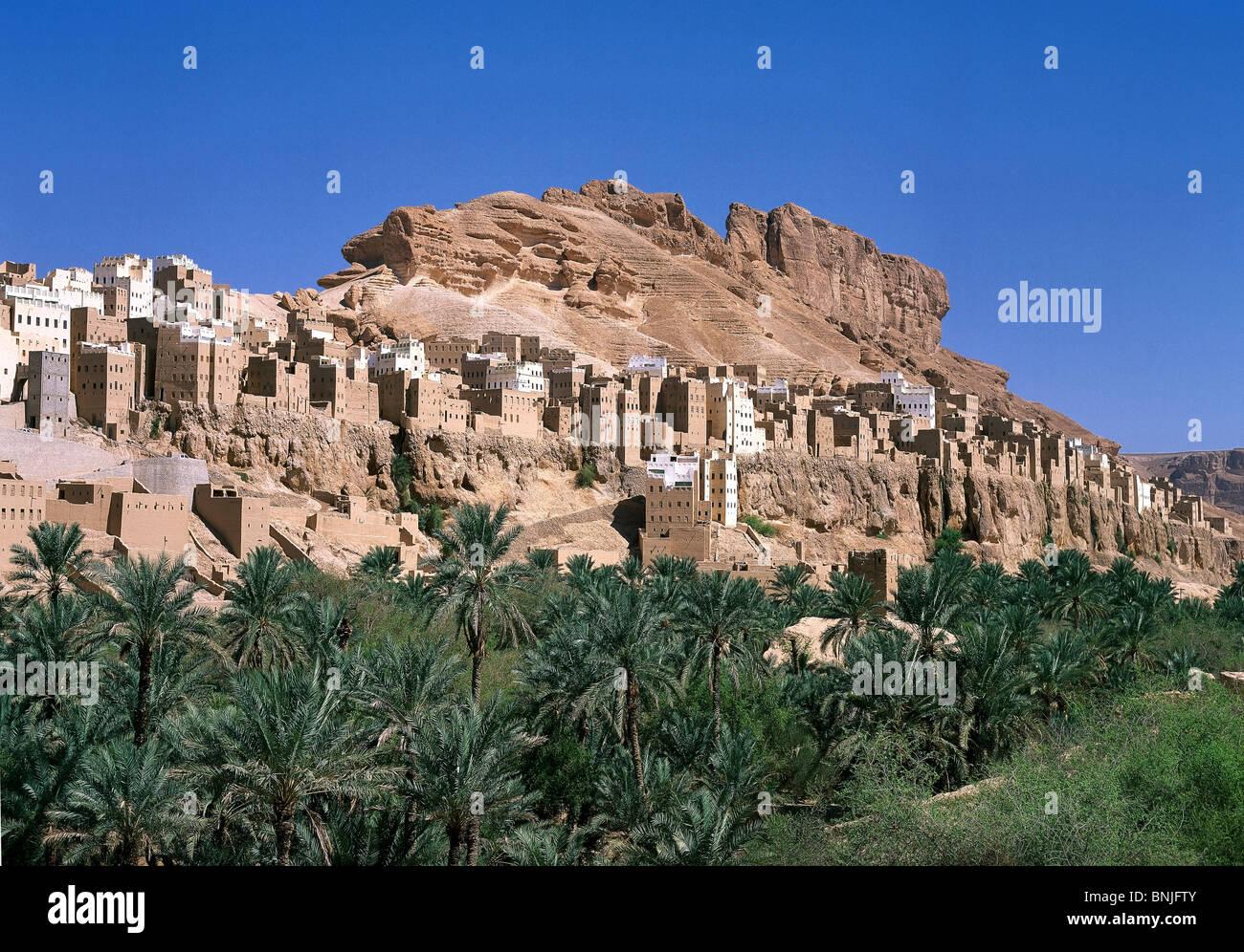 Février 2005 La vallée d'Hadramaout au Yémen, près de la ville de Shibam palmiers mountain Photo Stock