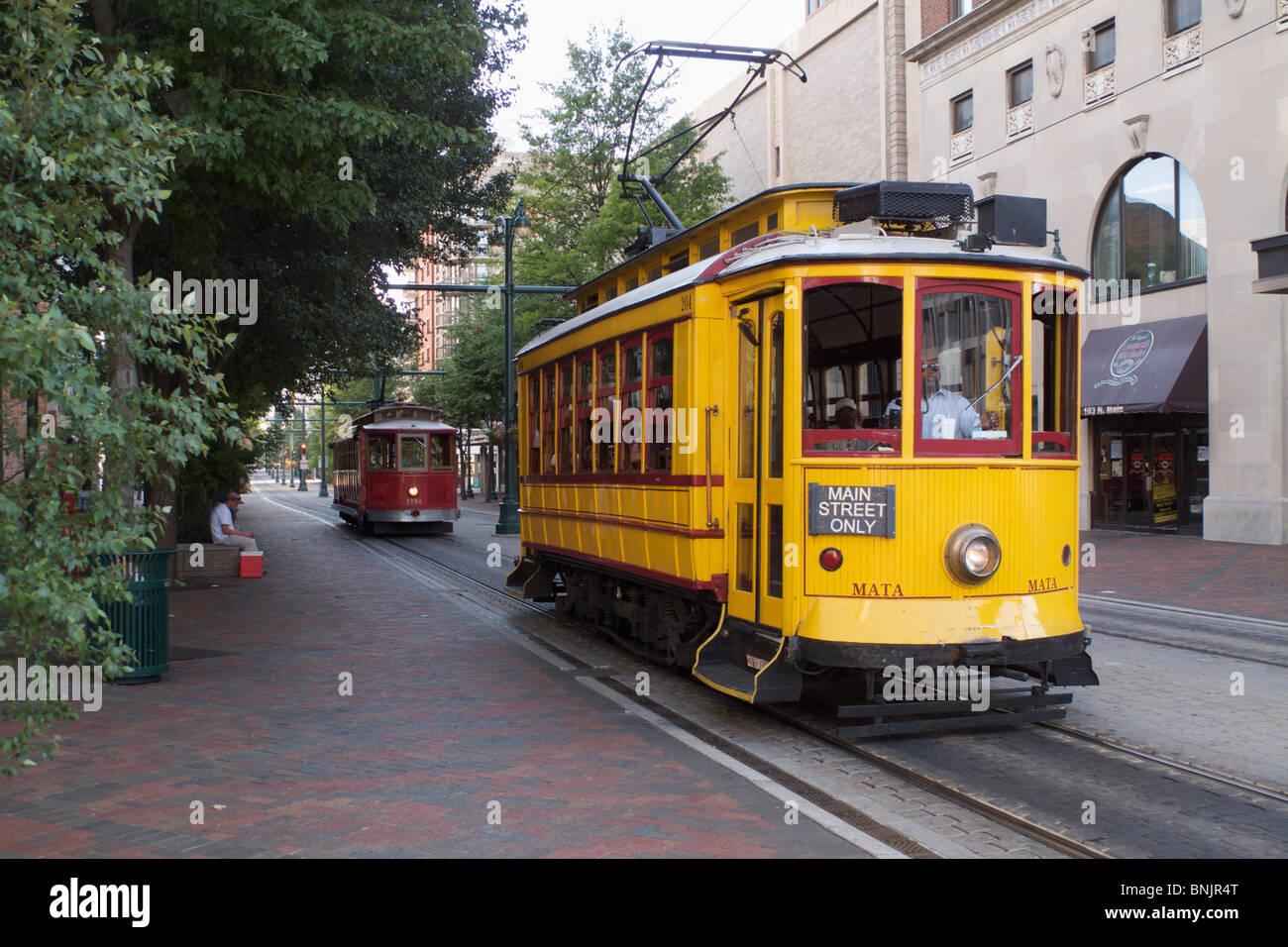 Trolleybus sur la rue Main. Memphis, Tennessee. Banque D'Images