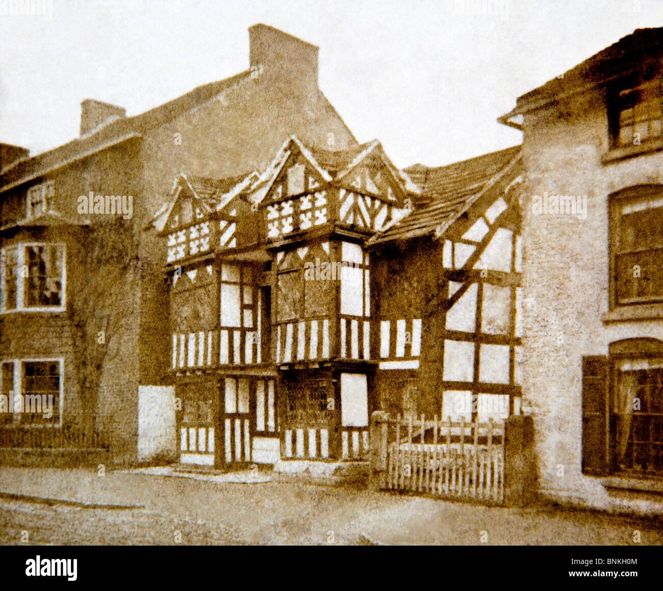 Royaume-uni, Angleterre, Cheshire, Prestbury, l'ancienne maison du Curé, 1860 photographie victorienne Banque D'Images