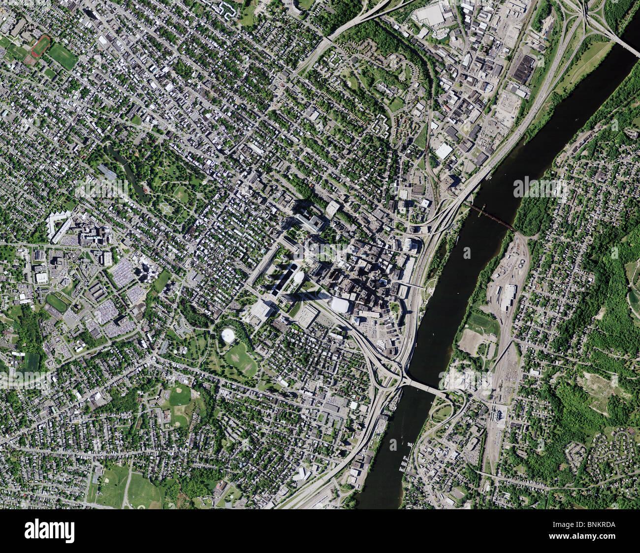 Carte aérienne vue au-dessus de la rivière Hudson Albany New York Photo Stock