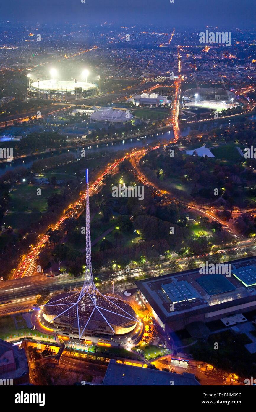 Vue de nuit de l'antenne de Melbourne en Australie Banque D'Images