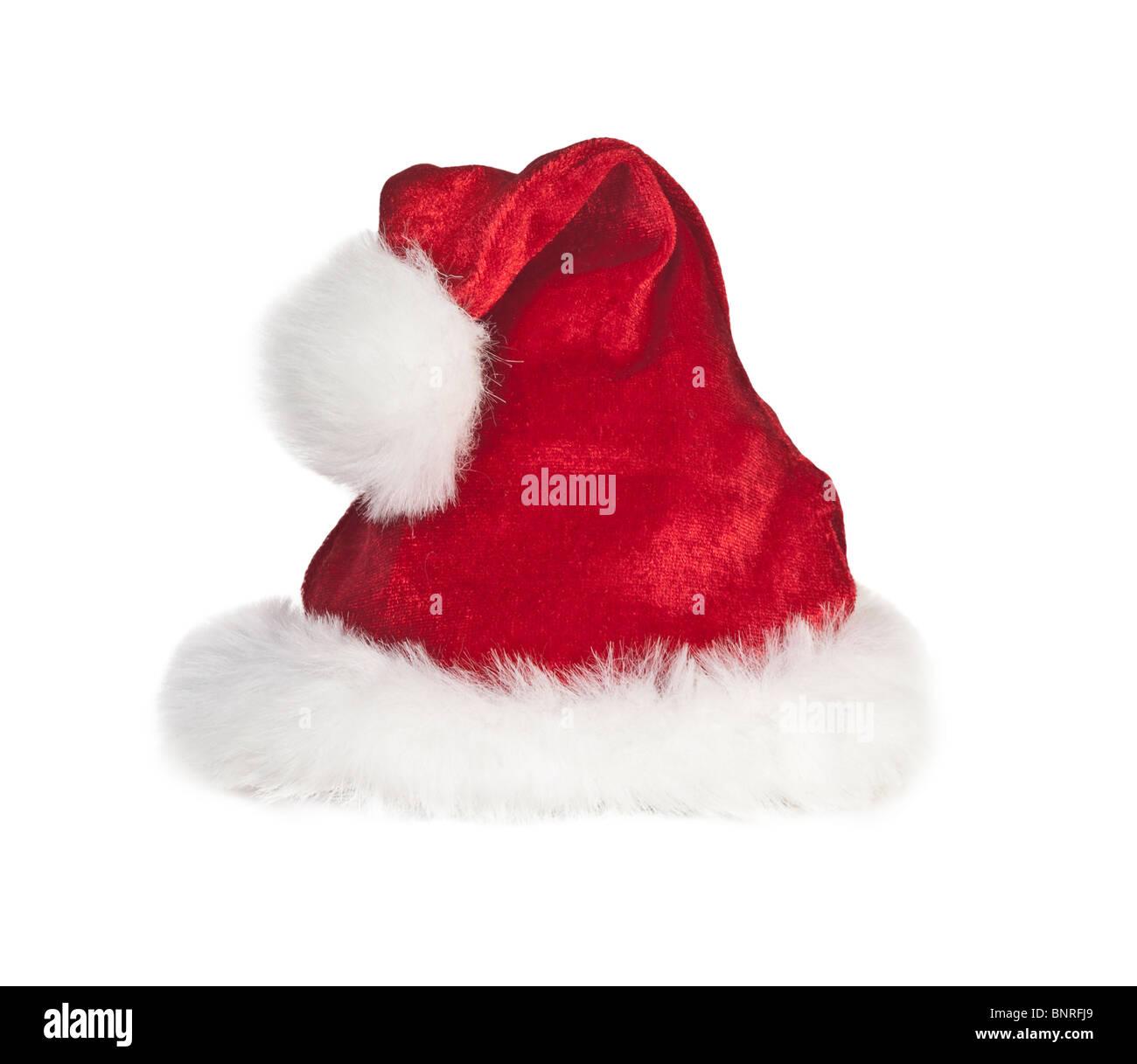 Christmas santa hat style tourné sur blanc . Banque D'Images