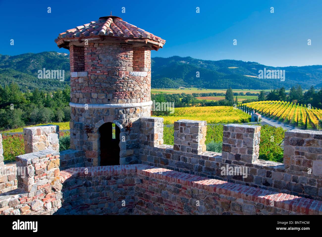 Tourelle du château du Castello di Amorosa. Napa Valley, Californie. Parution de la propriété Photo Stock