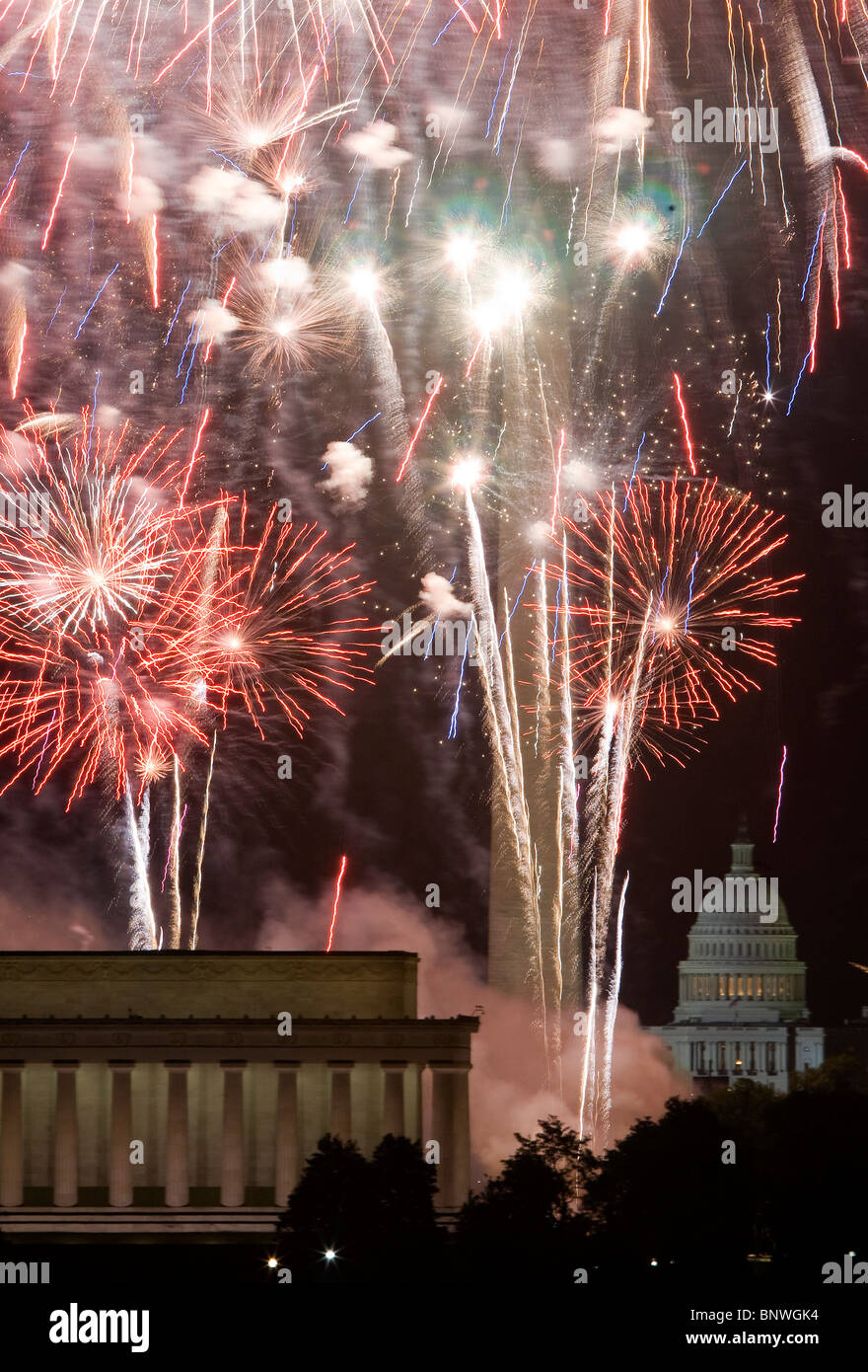 D'artifice du 4 juillet à Washington, DC. Banque D'Images