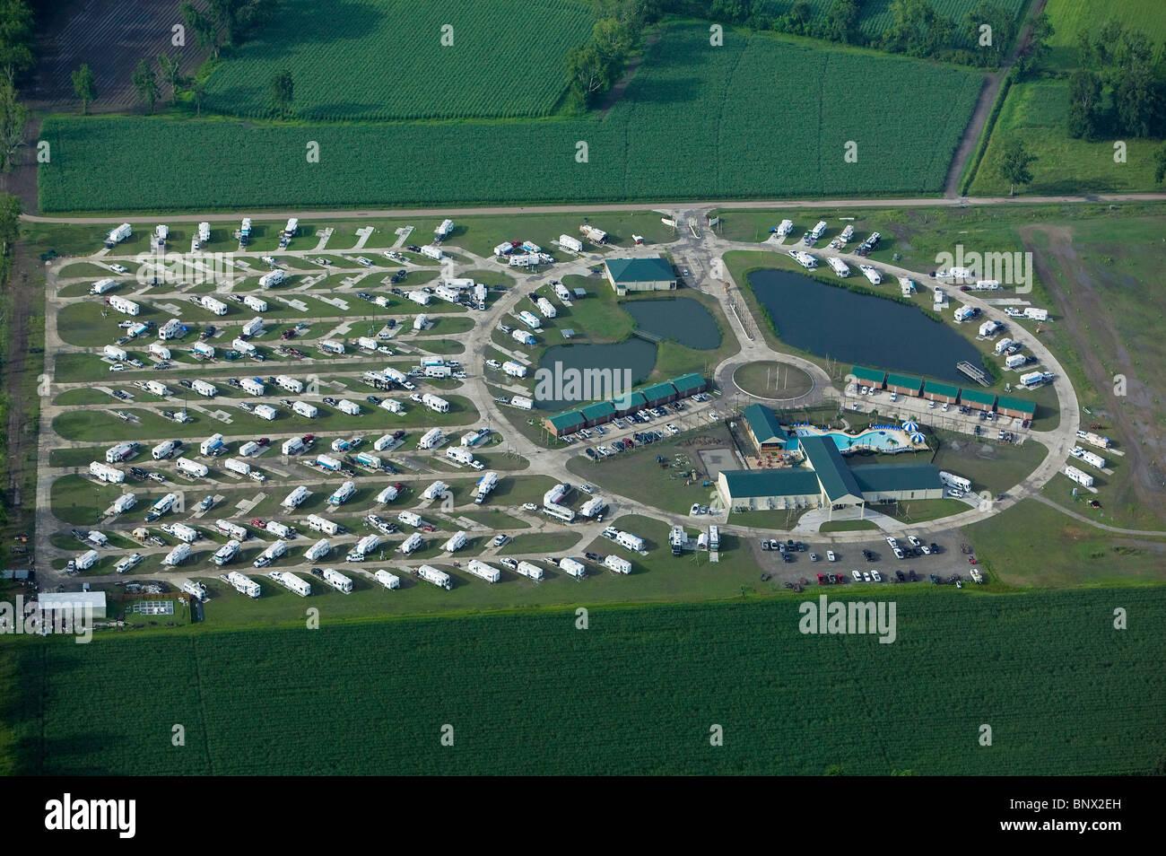 Vue aérienne au-dessus de parc de maisons mobiles Louisiane Photo Stock
