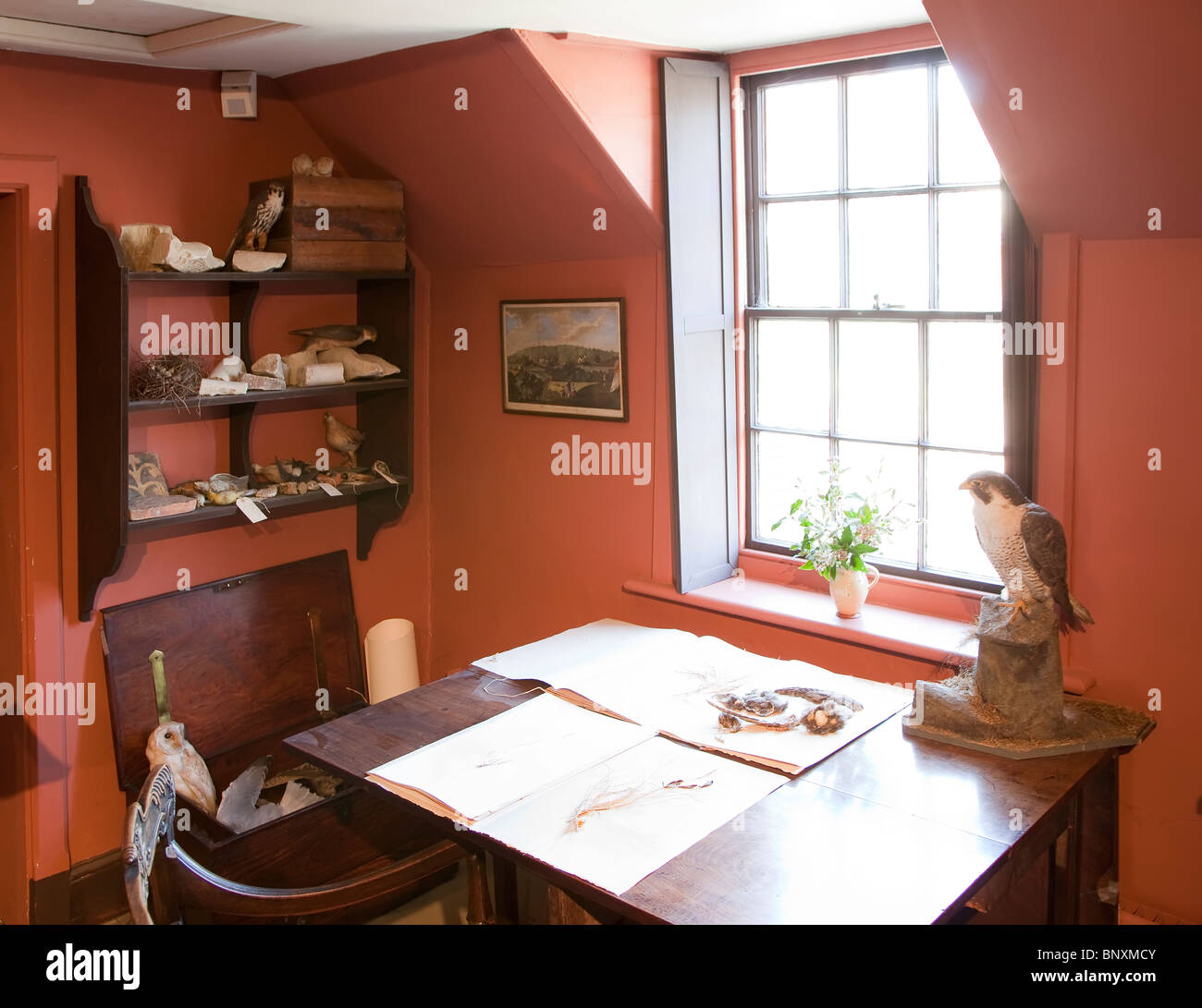 Dans l'étude, Gilbert White's house Selborne Hampshire England UK Photo Stock