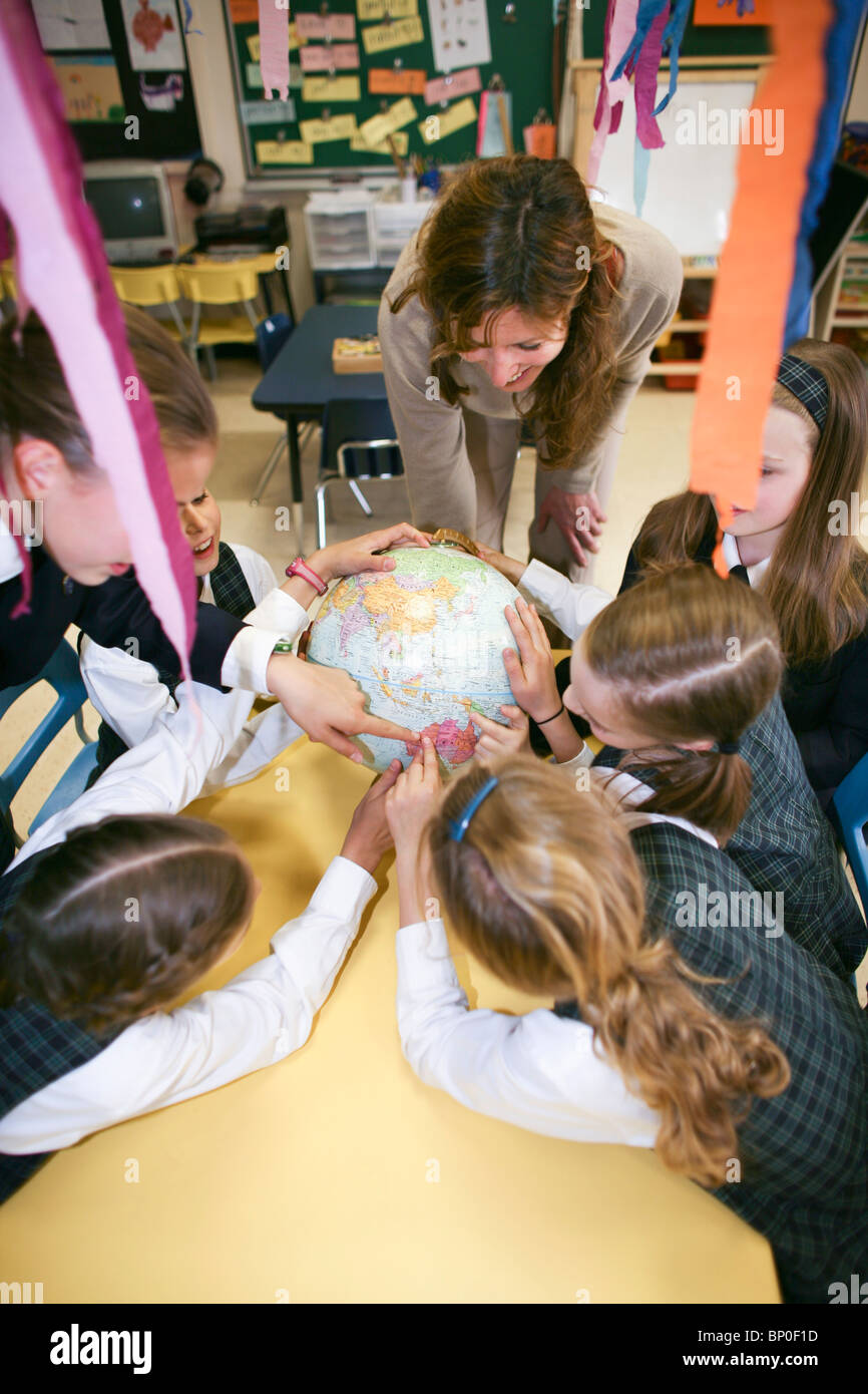 Canada, Québec, Montréal, école privée, la classe de géographie Photo Stock