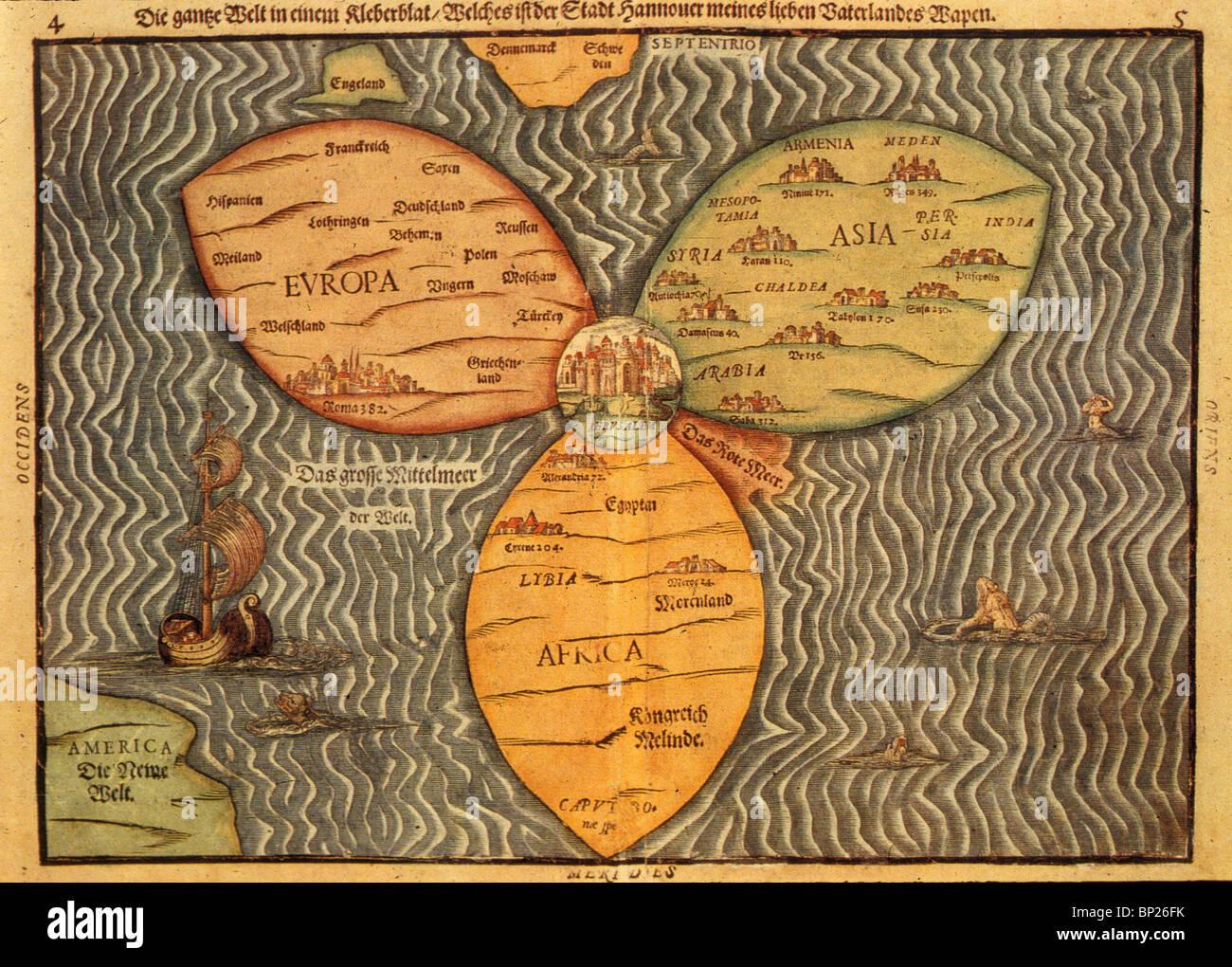 1059. Carte DU MONDE AVEC JÉRUSALEM AU CENTRE, H. BUNTING, 'l'ITINERARIUM SACRAE SCRIPTUARE» 1581 Photo Stock