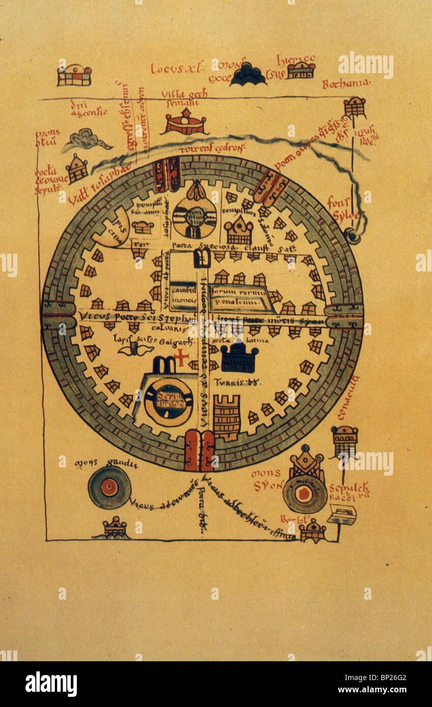 1072. Carte de Jérusalem des croisés, Photo Stock