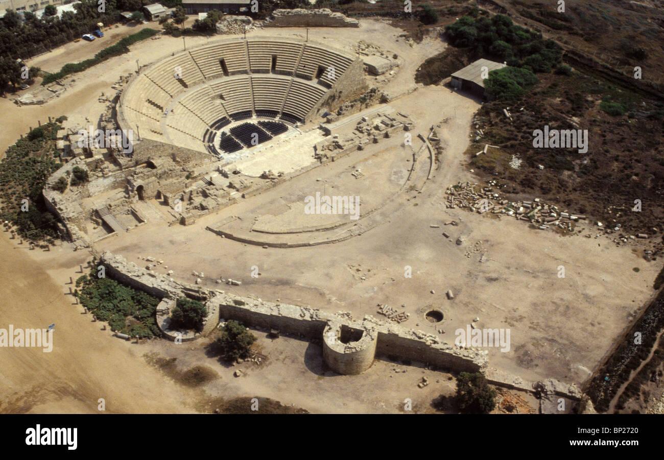 1389. Césarée, le théâtre romain Photo Stock