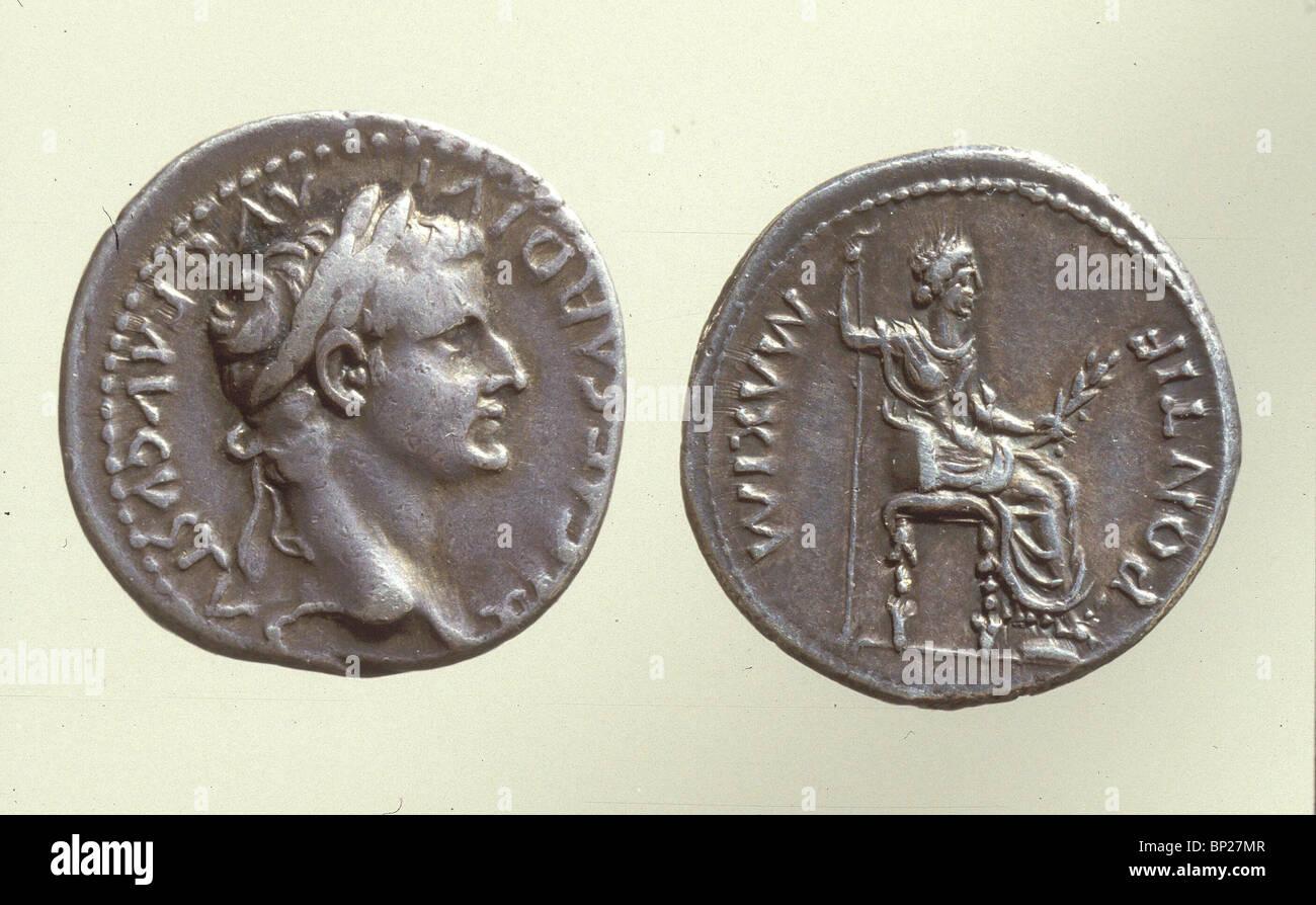 931. Pièce de monnaie romaine avec le buste de l'empereur Auguste, (30 av. - AD 14). Photo Stock