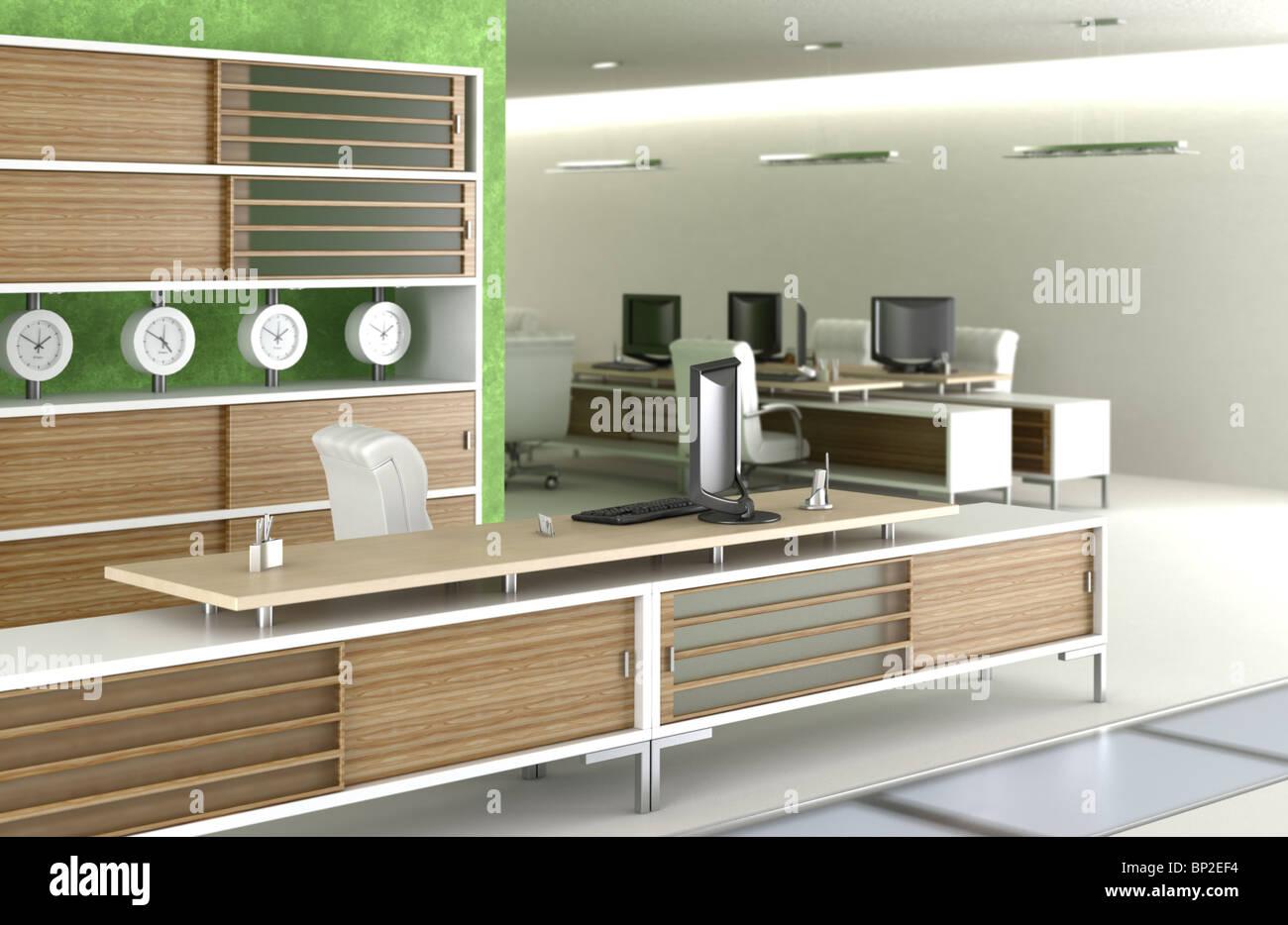 Scène d d un environnement de bureau moderne en bois blanc et