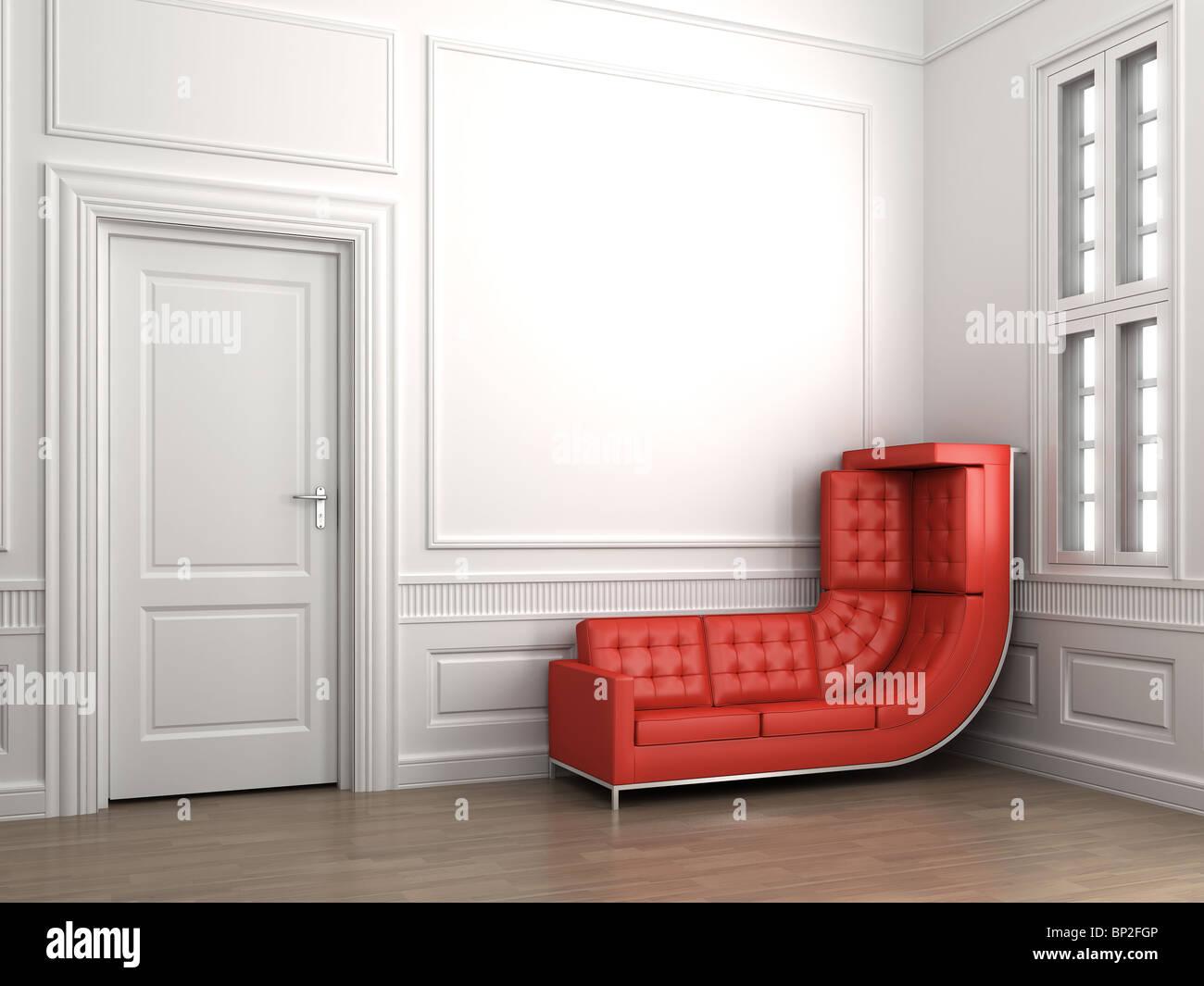 scène d'intérieur d'un coin chambre avec un canapé rouge plié vers