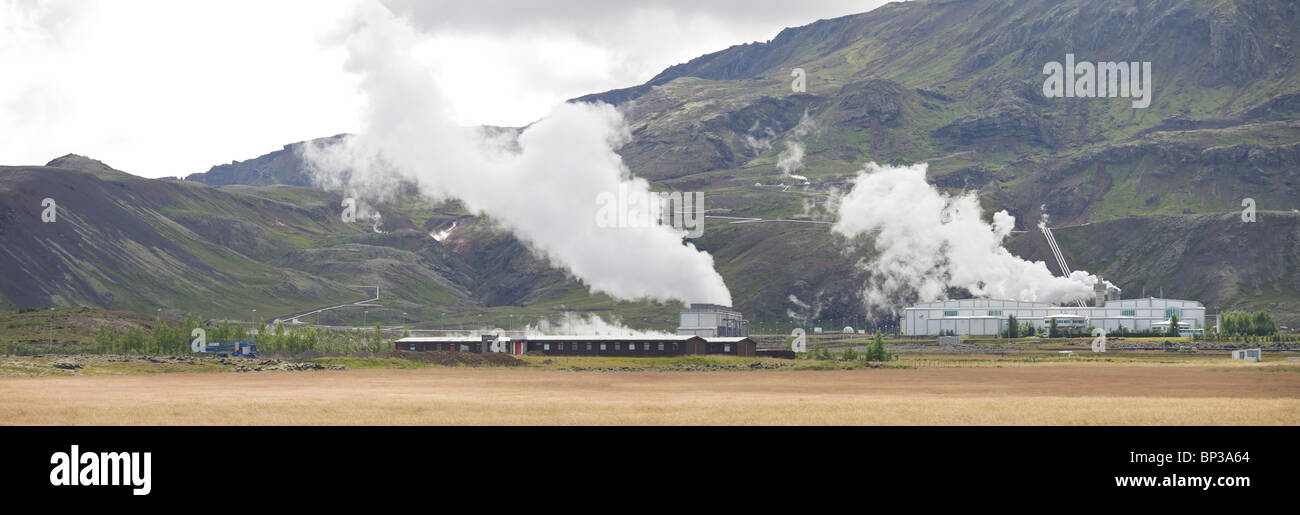 Nesjavalla Centrale électrique dans le Parc National de Thingvellir, les récoltes de l'électricité Photo Stock