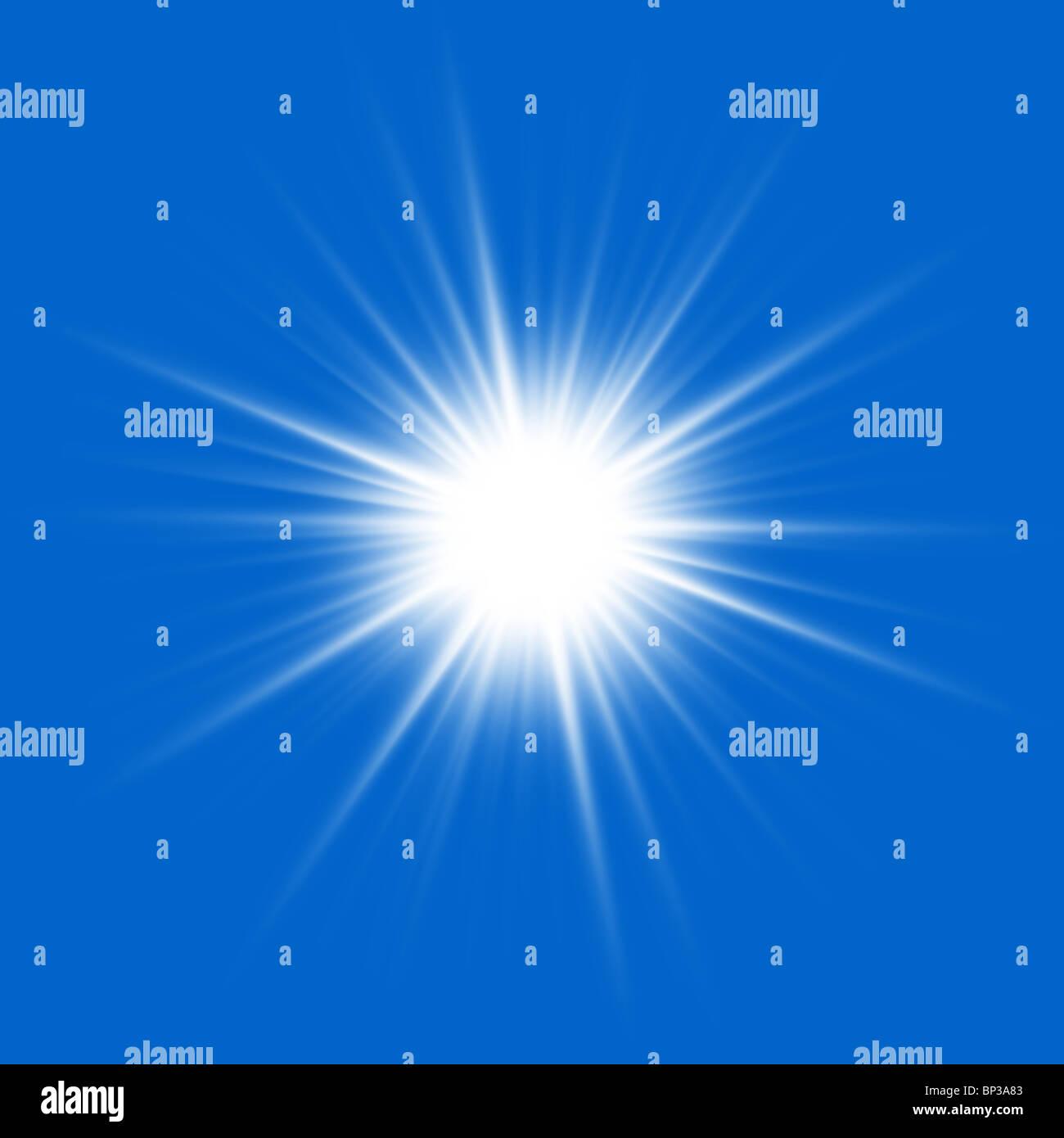 Près du soleil sur un fond bleu. Photo Stock