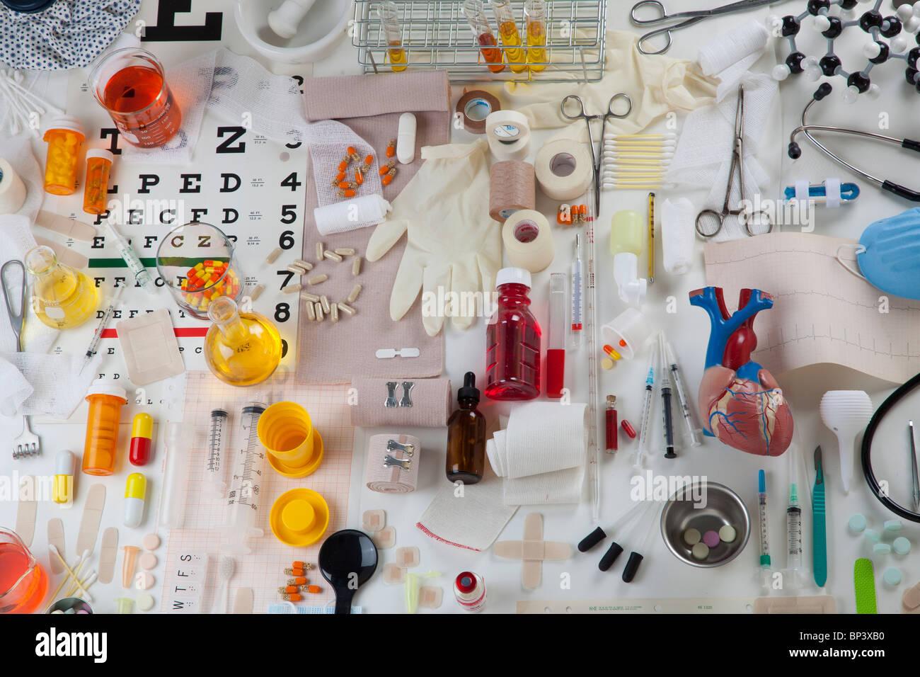 Collection d'articles médicaux de soins de santé Photo Stock