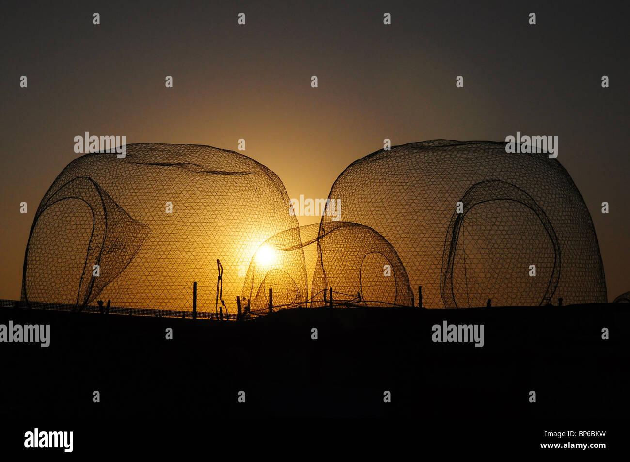 Les filets de pêche, coucher du soleil Photo Stock