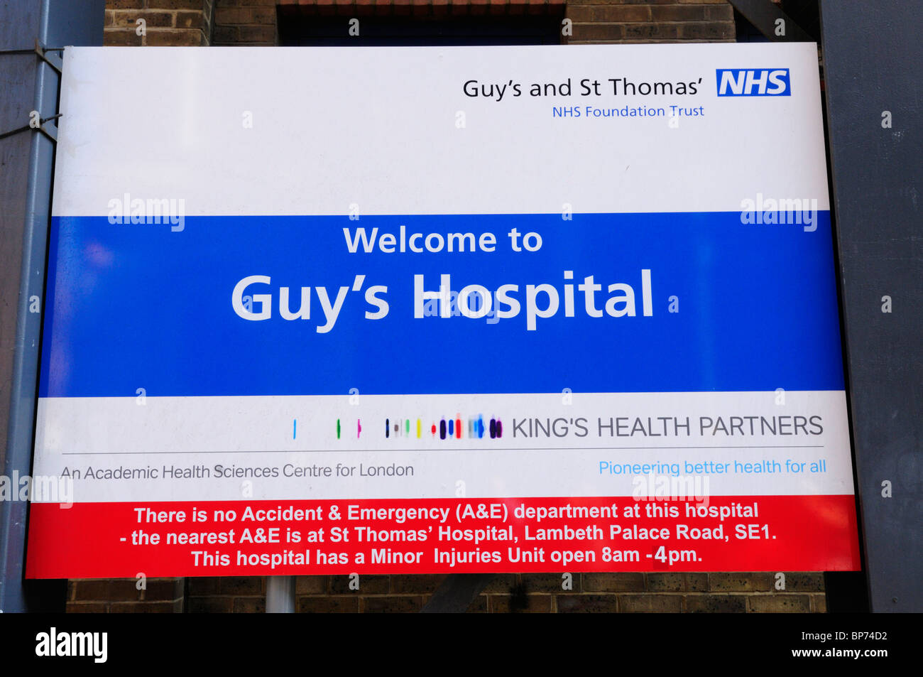 Bienvenue à Guy's Hospital signe, Southwark, Londres, Angleterre, RU Photo Stock