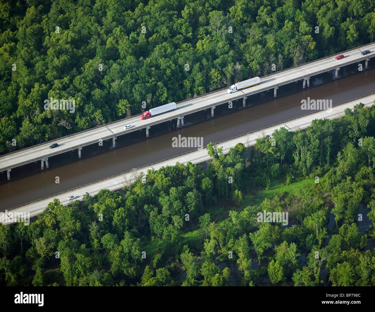 Vue aérienne au-dessus de la Louisiane Intercoastal Waterway Photo Stock