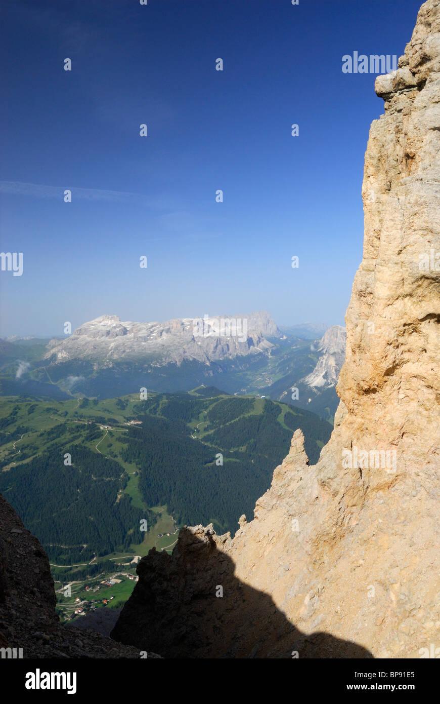 Vue depuis la Varella de Sella, Naturpark Fanes-Sennes-Prags, Dolomites, Trentino-Alto Adige/Tyrol du Sud, Italie Banque D'Images
