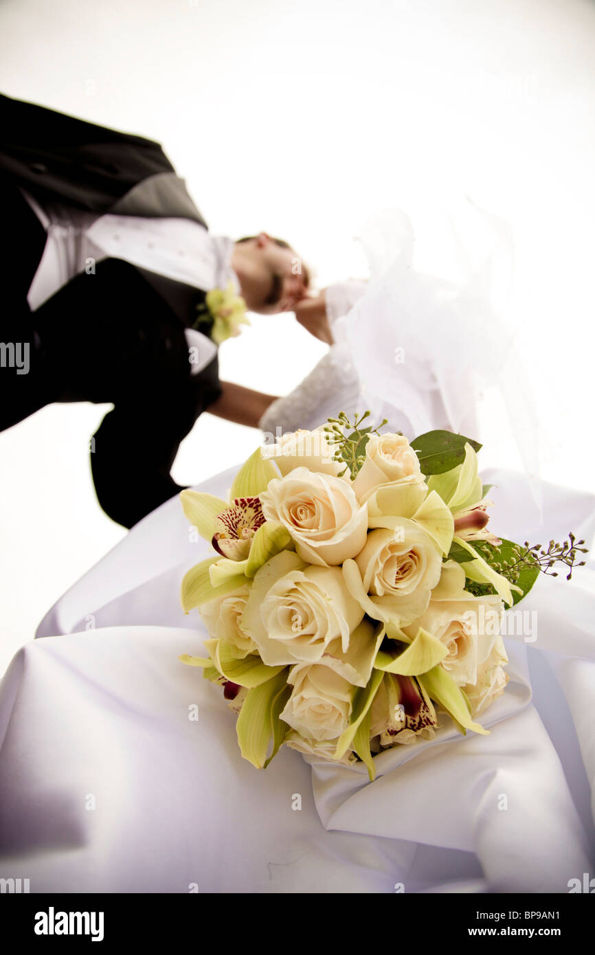 Stoney Creek, Ontario, Canada; un Low Angle View Of A Bride and Groom Kissing Photo Stock