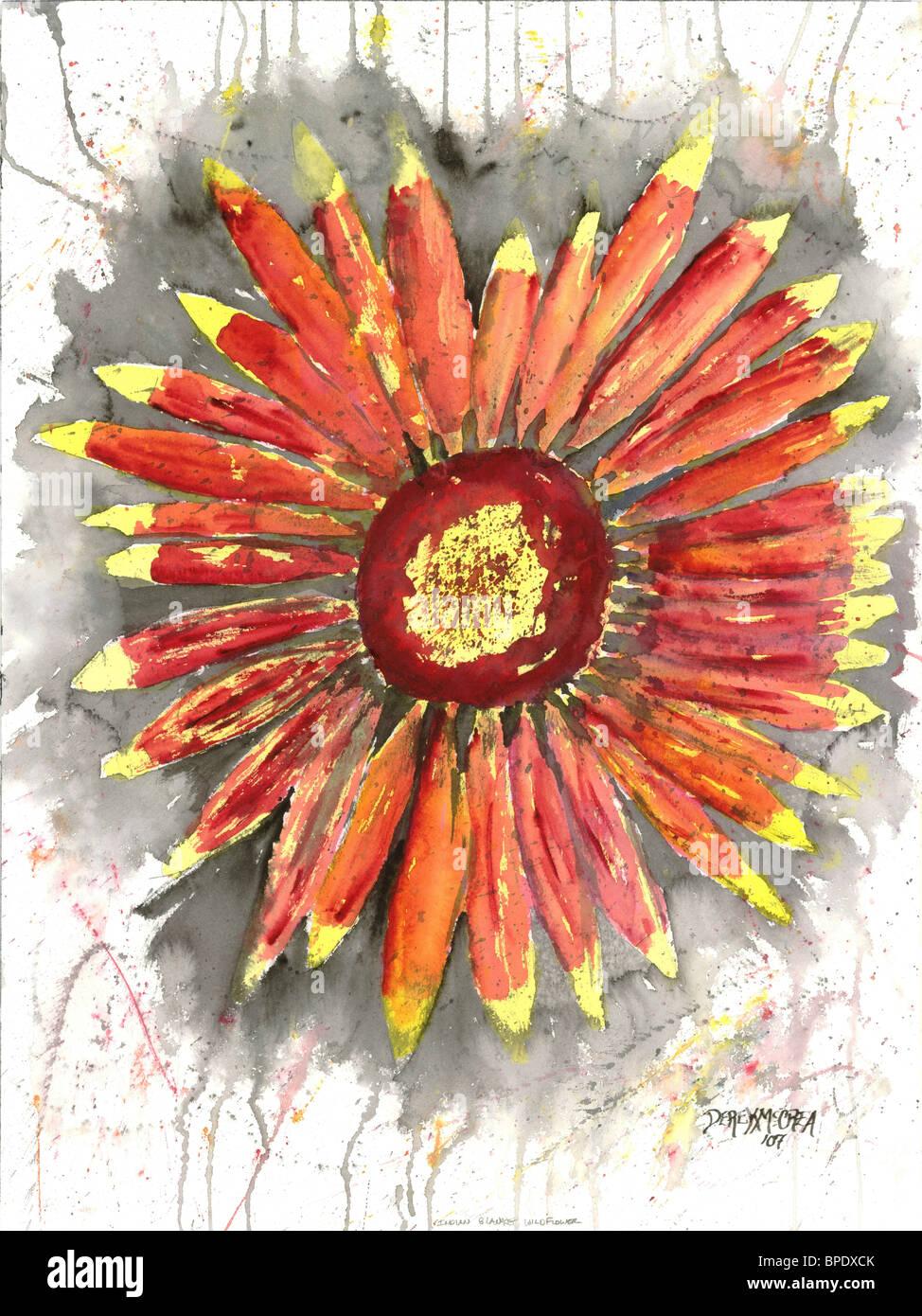 Couverture indienne fleur fleurs nature morte moderne botaniques à l'aquarelle peinture ...