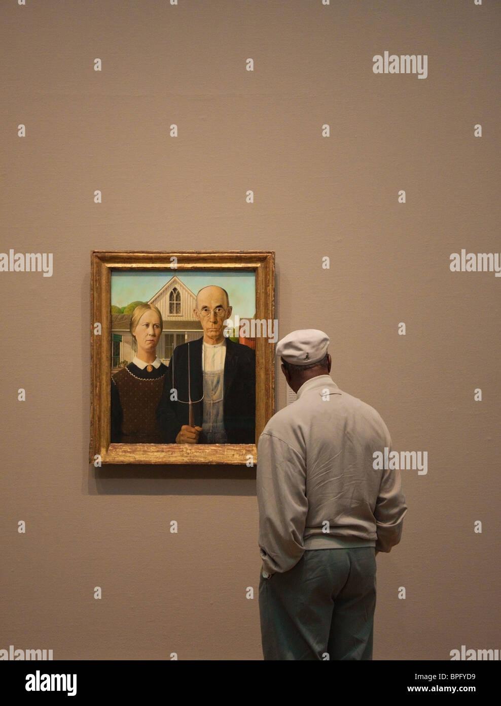 L'homme 'études' American Gothic de Grant Wood à l'Art Institute de Chicago Photo Stock